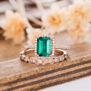 2.80Ct Emerald Cut Green Emerald Bridal Set Engagement Ring 14K Rose Gold Finish