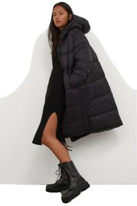 NEU H&M Kangol Puffer Jacket Jacke Parka Wintermantel Gr.M 38 40 schwarz limited