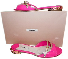 Miu Miu- Prada Pink Patent Leather Crystals Flat Sandals Slide Shoe 36- 6 Mules