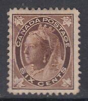 "Canada Scott #71  6 cent brown  ""QV Maple Leaf""    F"