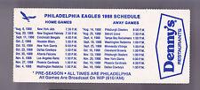 1988 PHILADELPHIA EAGLE DENNYS RESTAURANT FOOTBALL POCKET SCHEDULE FREE SHIPPING