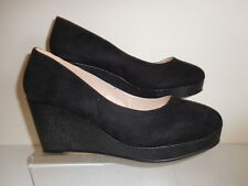 Black Faux Suede Wedge Shoes Size UK 9 Wide Fit (EEE) New In Box From Evans