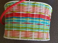 """Utensil Basket ~ Handled ~ Multicolored ~ 10"""" x 7"""" x 6"""" ~ Great for Picnics"""