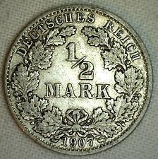 1907 G Germany-Empire 1/2 Mark KM#17 Silver World Coin YG #P
