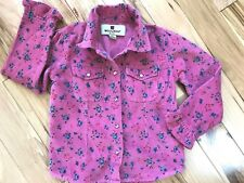 WOOLRICH Pink Floral CORDUROY Shirt Sz 4 Girl
