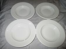 "4 New Wedgwood Edme England White Ribbed 23cm 9"" Rimmed Soup Plates"