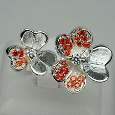 ADMIRABLE! ORANGE SAPPHIRE & WHITE SAPPHIRE 925 SILVER FLOWER RING SIZE 7