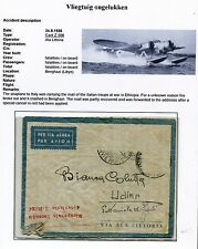 Ethiopia-Italy, CRASH COVER 24.9.1936 Ala Littoria Benghazi; RICUPERATA/I-RODI