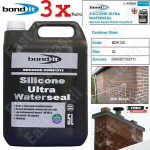 3 x Bond It 5L Silicone ULTRA Waterseal Water Seal Repellent For Masonry Render