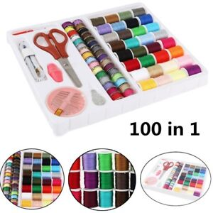 Sewing Kit Box Emergency Travel Set Needles and Thread Scissors Buttons Pins UK