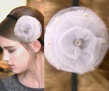 Haarband Stirnband Kopfband Haarschmuck Blume Rose Weiß Perlen Tüll