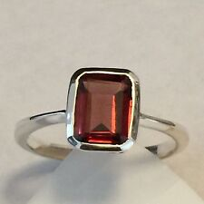 Natural Emerald Cut 1.5ct Fire Garnet 925 Solid Sterling Silver Ring  6.75