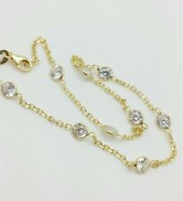 14k Solid Yellow Gold Cubic Zirconia By the Yard Anklet Bracelet Chain 10""