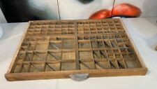 Antique Vintage French Beech Timber Printers Letter News Trinket Display Tray