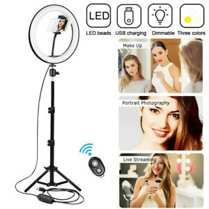 """10 """" LED Dimmable Ring Light with Tripod Stand for Photo Video Tik Tok Live"""