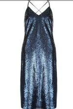 Monsoon Navy Salina Sequin Embellished Midi Cami Dress Size 16 BNWT Blue