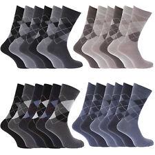 Mens Cotton Rich Office Socks Argyle Diamond Calf Length Golfing UK 6-11