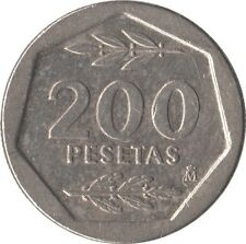 ESPAÑA: 200 PESETAS JUAN CARLOS I. AÑO 1987. BC+. HEXAGONALE. RARA Y ESCASA.