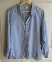 Habitat Womens Blue White Crinkle Front Panel Button Down Shirt Top Size Medium