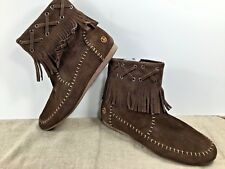 Moccasins~Suede~Peace~Madison~Ankle Booty~Women's Size 8~Fringe~Dark Brown~