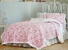 Simply Shabby Chic Country Paisley 2pc Quilt Set  TWIN  Red White FLORAL NEW