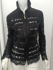 ***ESCADA*** Black leather & lace jacket, Size 36