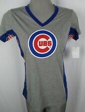 Chicago Cubs MLB Hands High Women's Rhinestone V-Neck T-Shirt