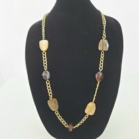 Avon Necklace Faux Wood Grain Brown Chain Gold Tone Plastic Beaded Long Faceted