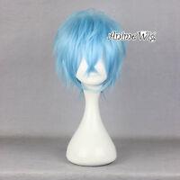 Unisex Stylish Anime Cosplay 30CM Short Light Blue Layered Hair Party Full Wig