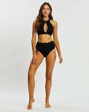 JETS Womens High Neck Hi Waist Matching Set Swimwear Ambrosia Black Size AU 10