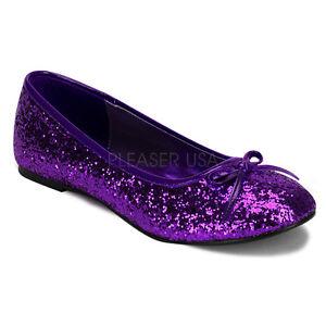 Women's Purple Glitter Ballet Flats Halloween Costume Flat Shoes STAR16G/PUR