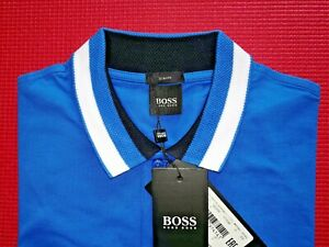 Hugo Boss Herren Poloshirt Gr. M Slim Fit blau NEU mit Etikett