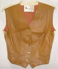 Vtg Early 70s EVAN PICONE Tan Leather & Linen Vest Union Made in USA Women's 14