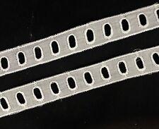 "4y x 3/4"" Old Vintage Lovely Entredeux Lace Trim Edging w /Slits for Ribbon"