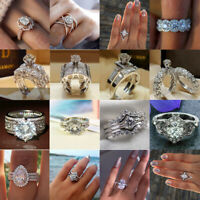 Princess Infinity 925 Silver Women Wedding Rings White Sapphire Jewelry Size6-10