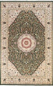 Vegetable Dye GREEN Wool/ Silk Floral Oriental Area Rug Hand-knotted 6x9 Carpet