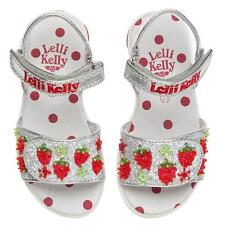 LELLI KELLY Silver Glitter Red Strawberry 🍓 Sandals BOXED  Sz 6  8  23  25