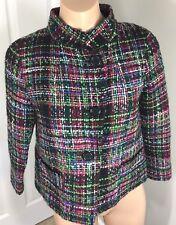 Talbots Women Jacket Blazer Multicolor Tweed Wool Blend Office Petite Size 2