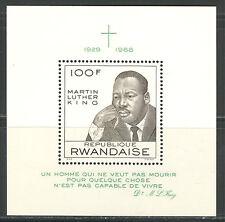 RWANDA 1968, FAMOUS PEOPLE: MARTIN LUTHER KING,  Scott 255,  SOUVENIR SHEET, MNH
