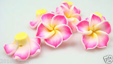 free sell 10Pcs Mixed 3 color Flower Flat Back Cabochon Polymer Clay Beads y1
