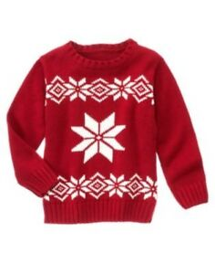 GYMBOREE ALPINE PATROL RED SNOWFLAKE L/S SWEATER 3 4 5 6 7 8 10 12 NWT
