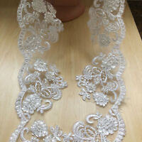 Beaded Bridal Gown Lace Tulle Embroidered DIY Trim Ribbon Wedding Blossom Edging