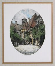 Oval Color Etching Print by Luigi Kasimir (1881-1962) Estate Signed Matted