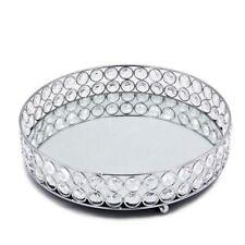 Silver Round Mirror Decorative Cosmetics Storage Box Tray, Wedding Home DecQ1N6