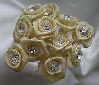 Wedding Flowers 10mm Diamante Satin Ribbon Rose Bridal x12 Stems All Colours