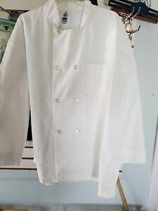 New Large Long Sleeve Chef Jacket Coat, White, Size L
