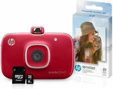 HP Sprocket 2-in-1 Portable Photo Printer & Instant Camera Bundle - Red