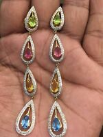 Pave 1,76 Cts Runde Brilliant Cut Diamanten Baumeln Ohrringe In Solides 18K Gold