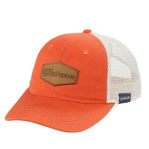 Genuine Subaru Logo Script Orange Mesh Back Cap Hat STi Forester Ascent WRX