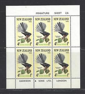 NEW ZEALAND - B70a - SHT OF 6 - MNH - 1965 - BIRD - FANTAIL (PIWAKAWAKA)
